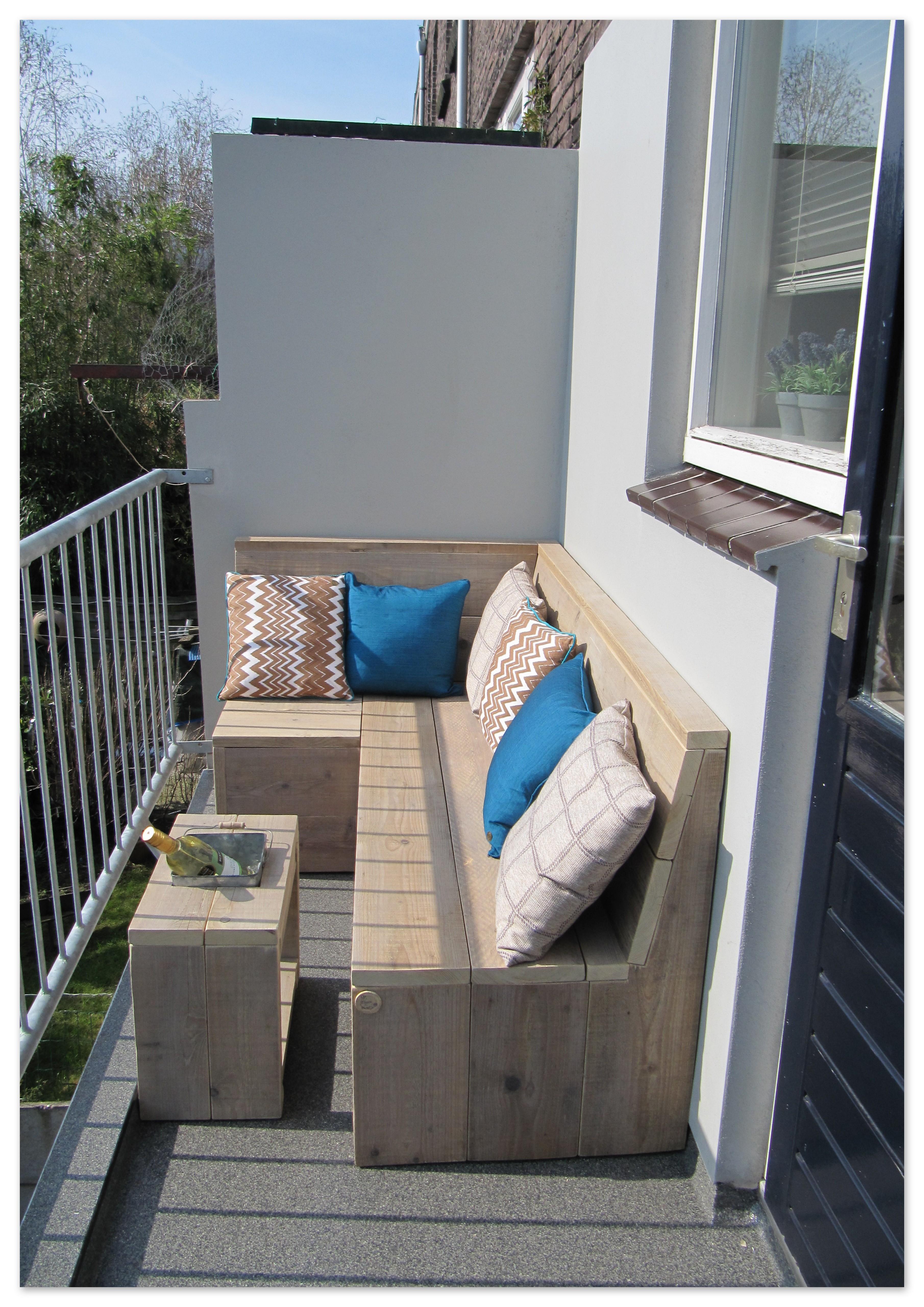 Balkon Loungebank Van Gebruikt Steigerhout Op Het Balkon